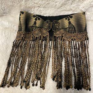 80s Fringe fashion waist belt